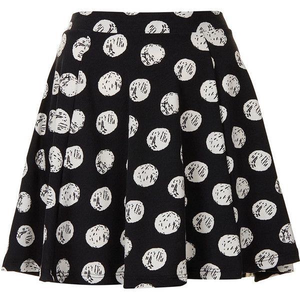 TOPSHOP Petite Spot Print Skater Skirt (50 BRL) ❤ liked on Polyvore featuring skirts, bottoms, black, petite, petite skirts, skater skirt, flared skirt, polka dot circle skirt and polka dot skater skirt