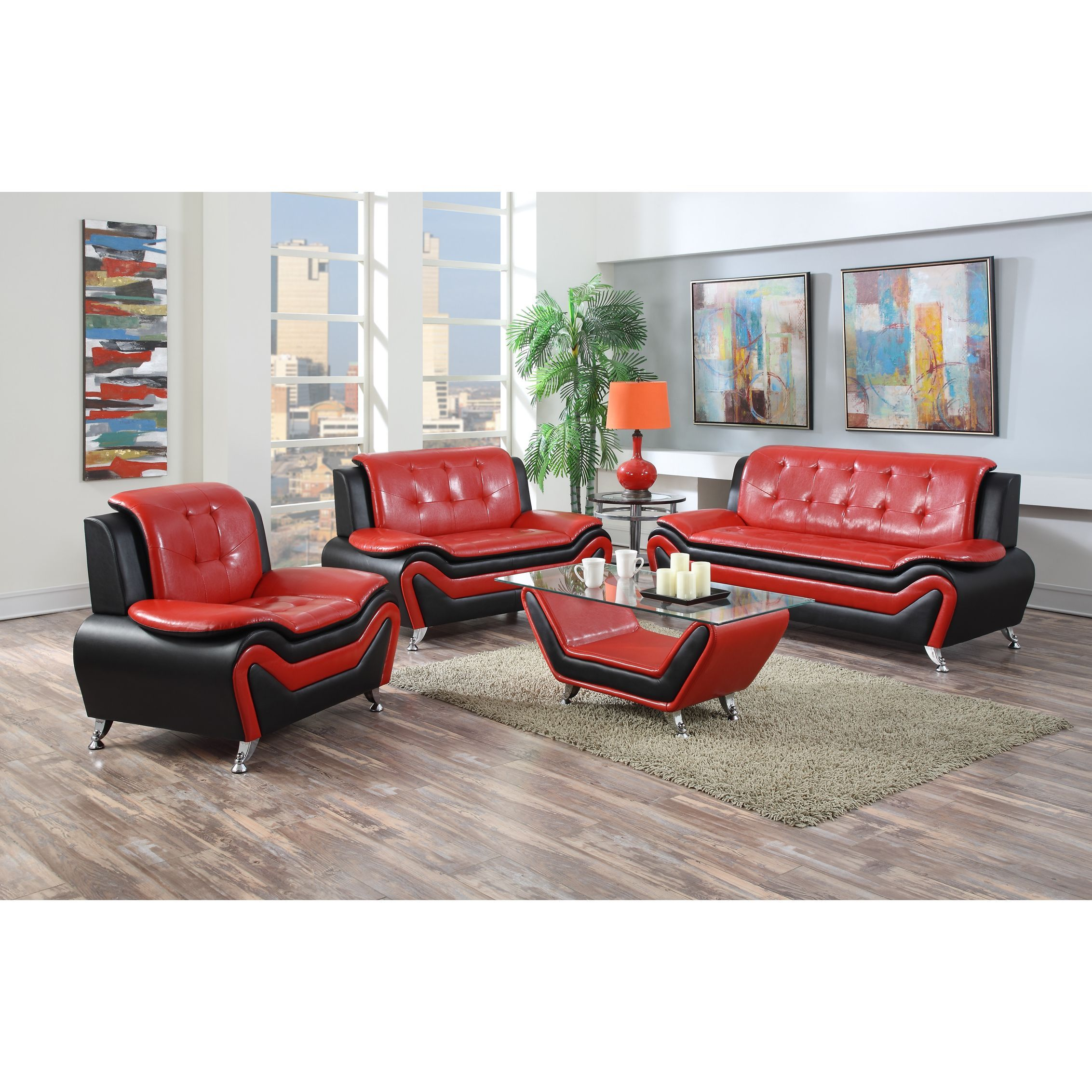 US Pride Furniture Wanda 3 Piece Modern Bonded Leather Sofa Set (Red)