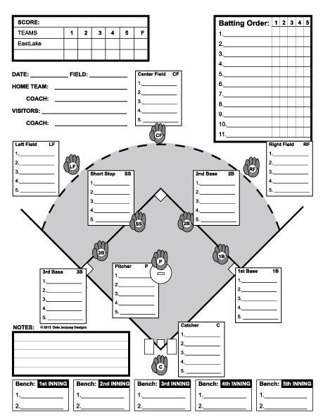 Baseball line up custom designed for 11 players useful for Free baseball lineup card template