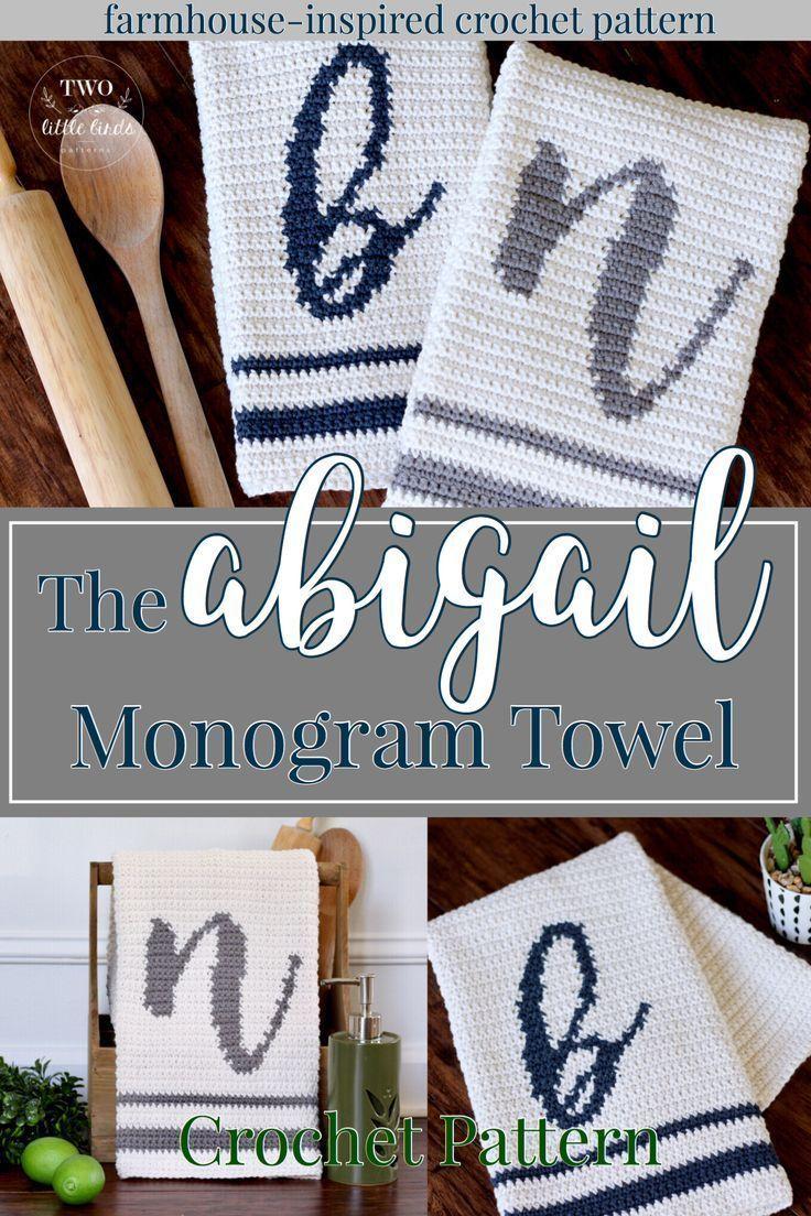Crochet towel pattern crochet monogram hand towel kitchen towel ...