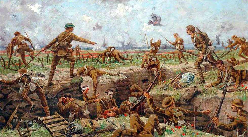 Tropas Brit 225 Nicas Saltando La Trinchera En La Batalla Del