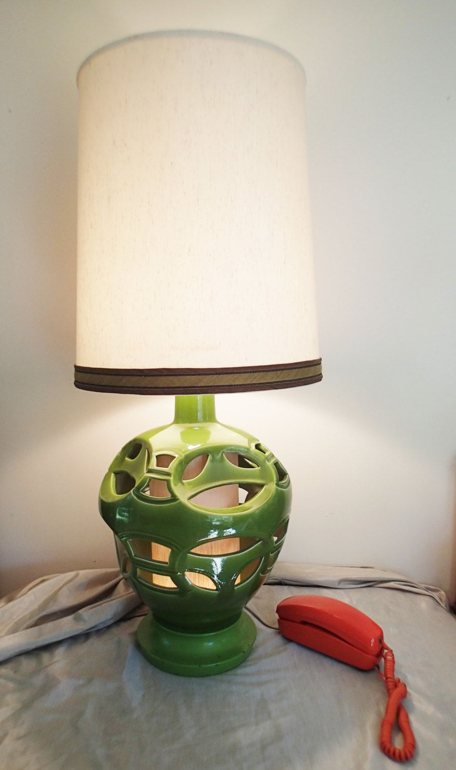 Large green table lamp avocado green cut out ceramic body mood table lamp floor lamp huge mid century cut out ceramic lamp avocado green ceramic aloadofball Images