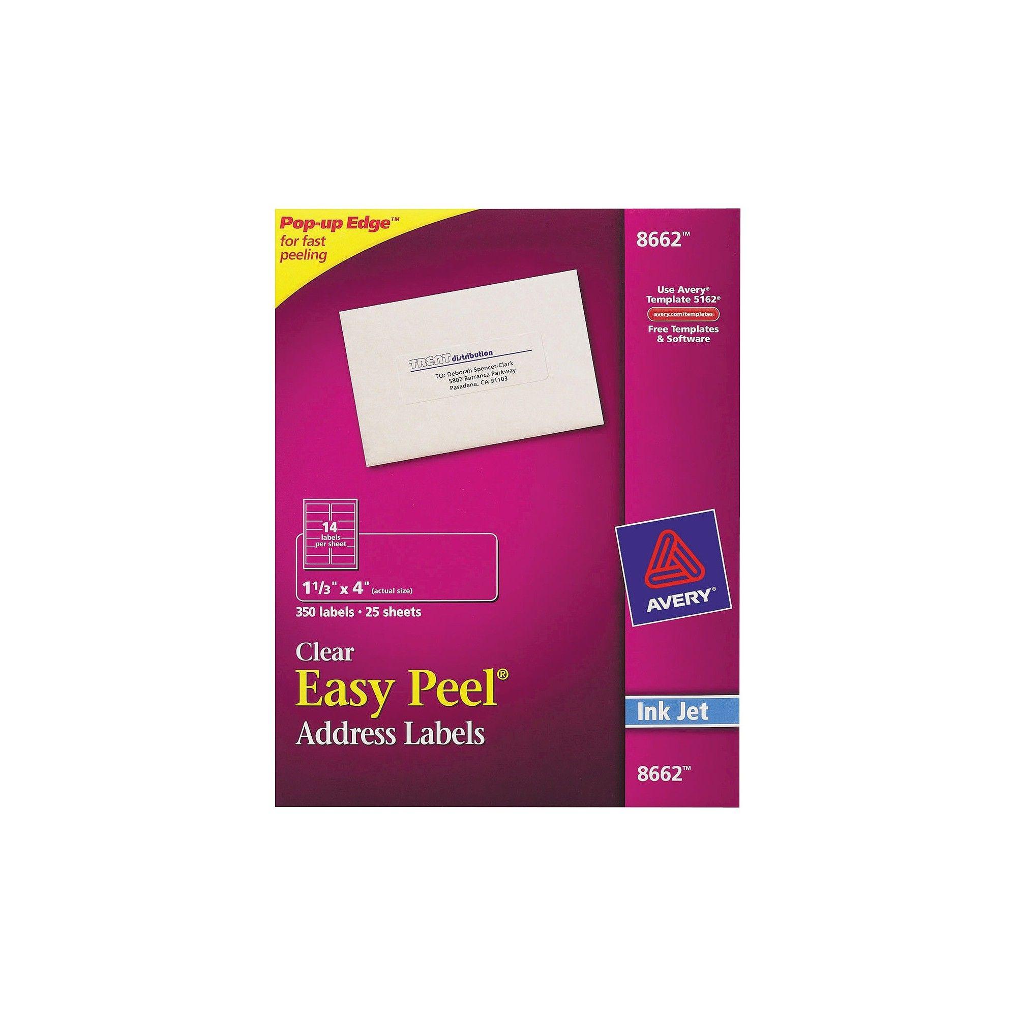Avery 08662, Clear Easy Peel Mailing Labels, Inkjet, 1 1/3 x 4, 350pk