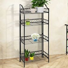 Metal Plant Stand Shelf 4 Tier Garden Home Patio Bakers Rack Pots Storage  New