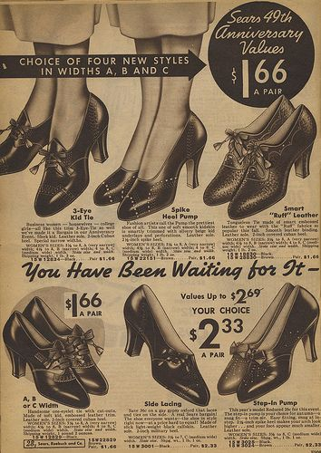 9ec839250a3 Sears catalog 1935 - women's shoes | Advertisements and Magazines ...