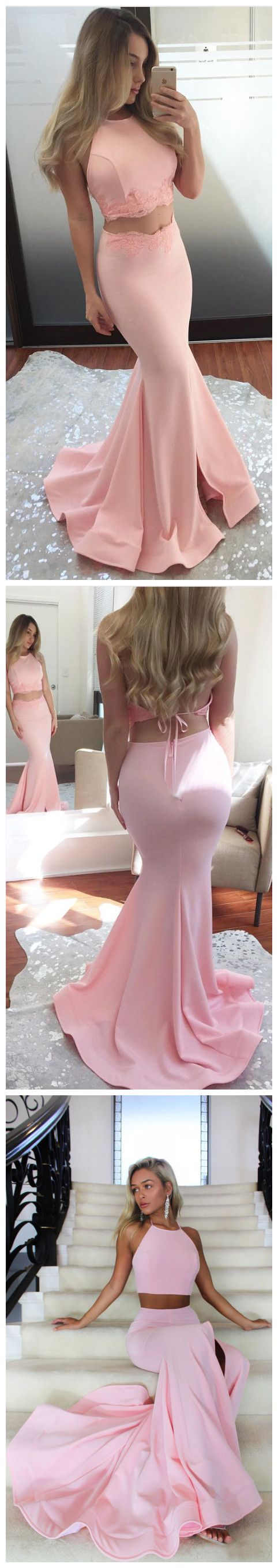 Chic Two Pieces Prom Dresses Long Mermaid Pink Cheap Long Prom Dress ...