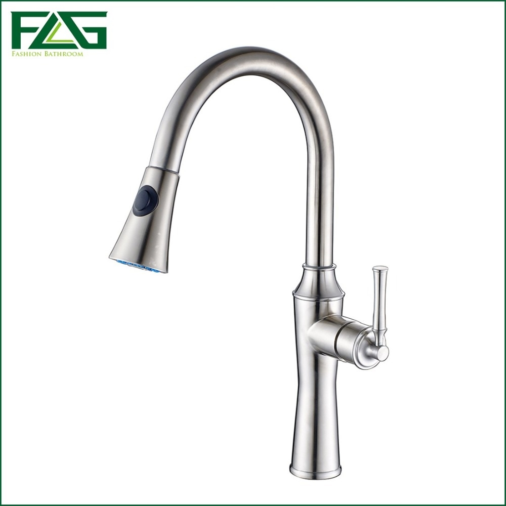 146.00$  Buy now - http://ali0d7.worldwells.pw/go.php?t=32687275245 - FLG Factory Direct Sale Kitchen Faucet 304 Stainless Steel  Kitchen Faucet With Pull Out 360 Degree Rotating Water Faucet CS005 146.00$