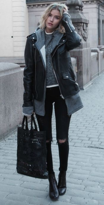 88ad220a0b8956 Elsa Ekman + simple yet edgy fall style + knitted sweater + hoodie +  oversized leather jacket + distressed jeans + leather boots + matching bag!