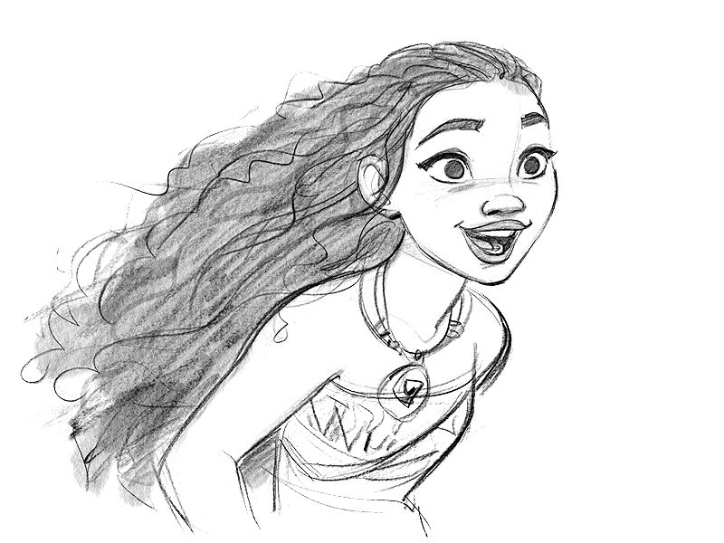 how to draw moana face step by step