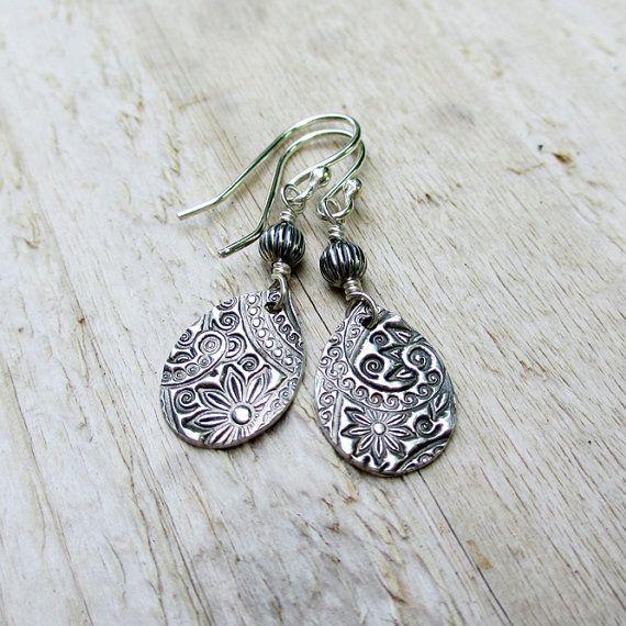 Silver Teardrop Earrings - PMC Fine Sterling Silver, Printed Paisley Floral, Artisan, Metal,