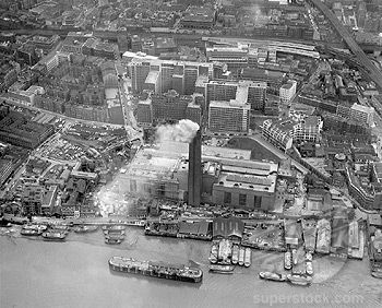 Aerial view of Bankside Power Station Southwark, March 1963.