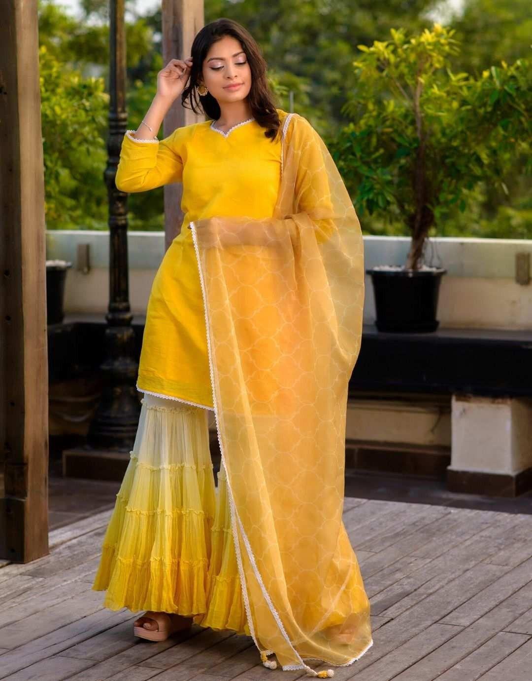 Yellow Gharara Suit Kurta Dupatta In