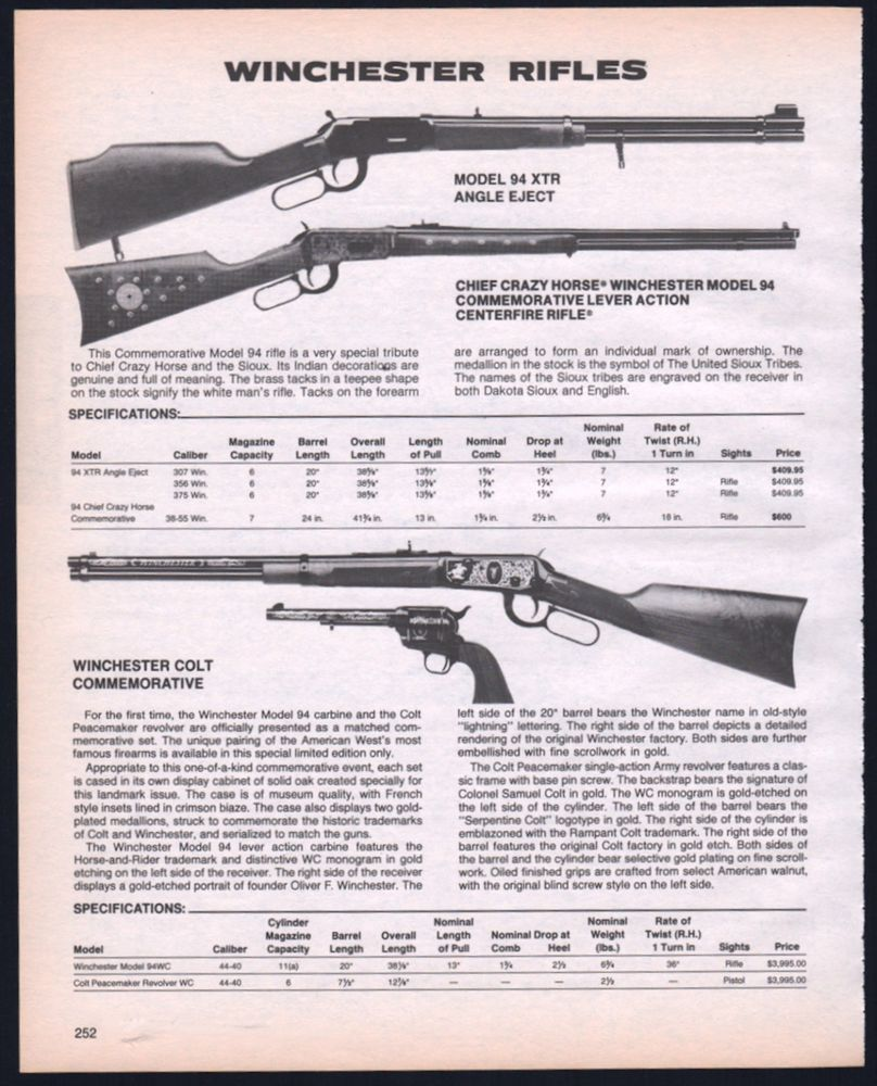 1985 Winchester 94 X Chief Crazy Horse Winchester Colt