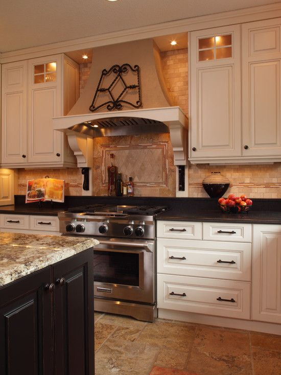 Kitchen Ideas   Luv Cream And Black Cabinet Combo And Two Different  Countertops That Compliment Each Other!