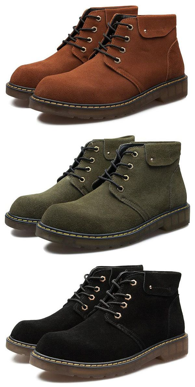 7bd7d9b4e360 US 43.35 Men Large Size British Style Lace Up Wear-resistant Ankle Boots