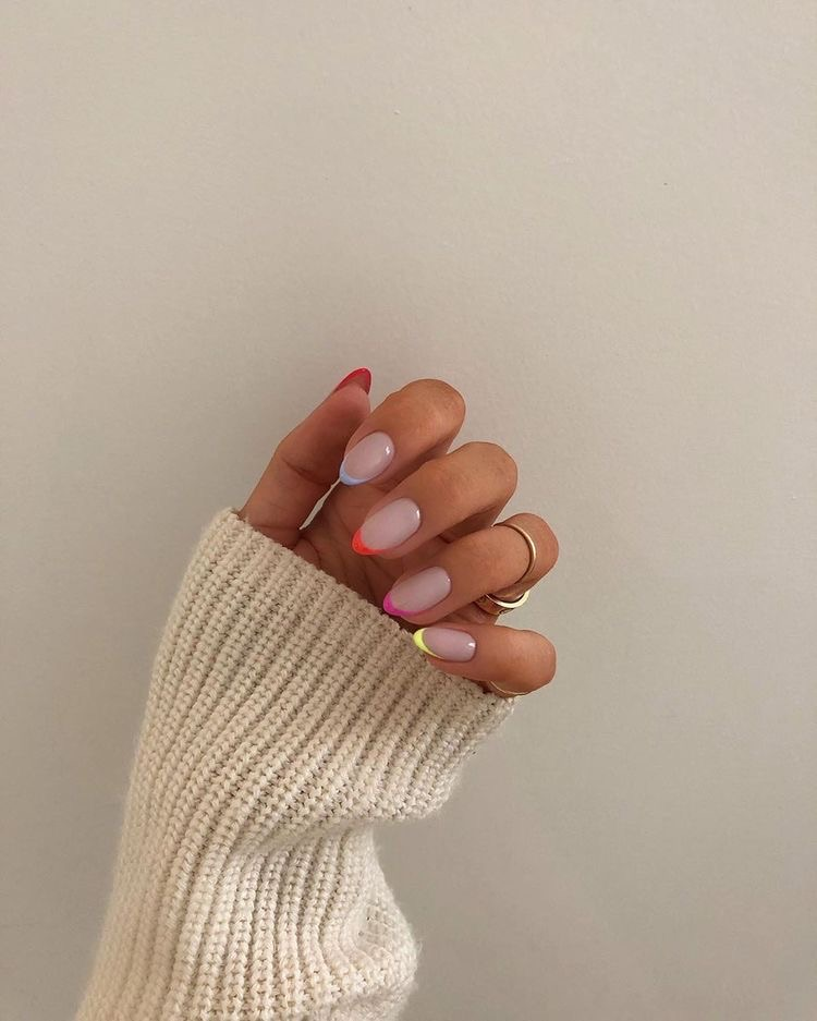 Aesthetic Chic Fashion Glam Hands Indie Nails Neon Soft Style Tumblr Vintage In 2020 Rainbow Nails Minimalist Nails Cute Nails