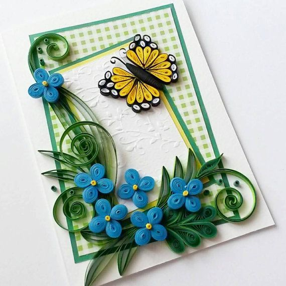 Beautiful Handmade Quilled Card With Quilling Butterfly Perfect