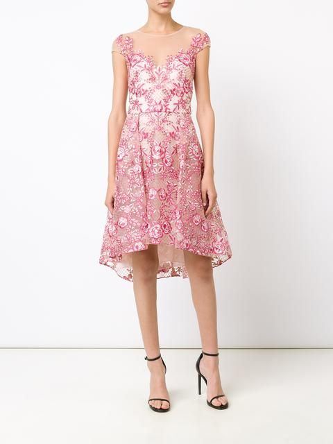 Marchesa Notte embroidered flower dress