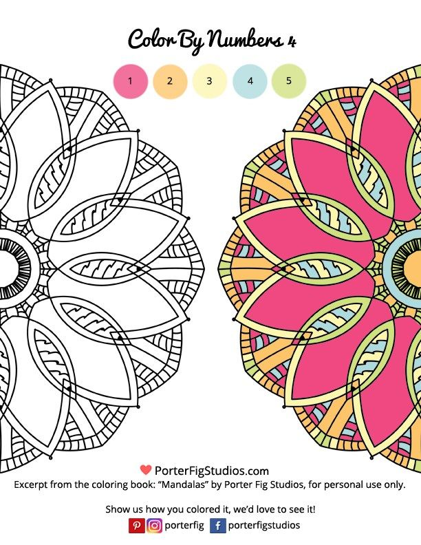 Free Mandala Coloring Page Color by Numbers 4 | Pinterest