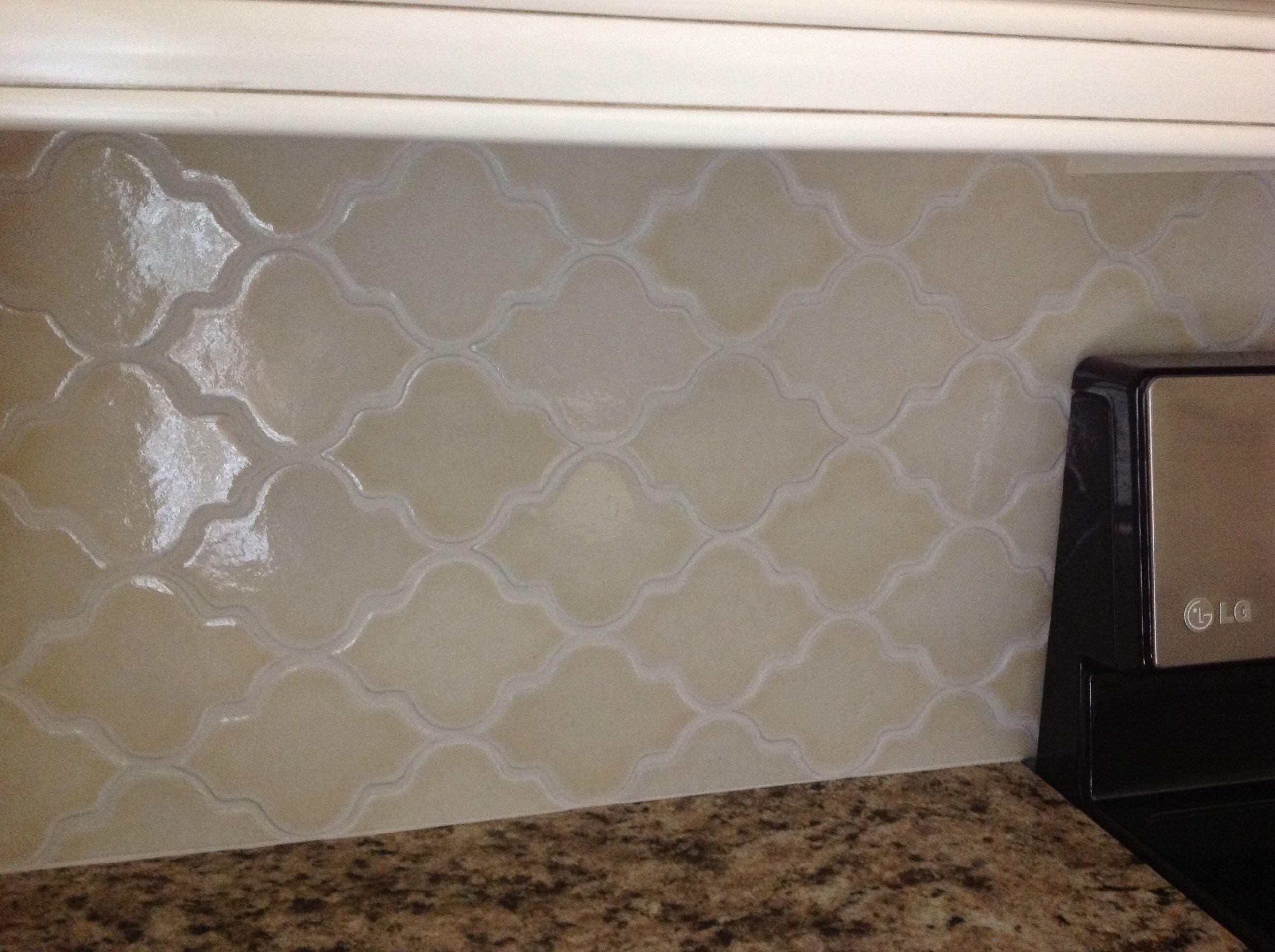- Handmade Tile. Busby-Gilbert. Almond Glossy Arabesque Backsplash