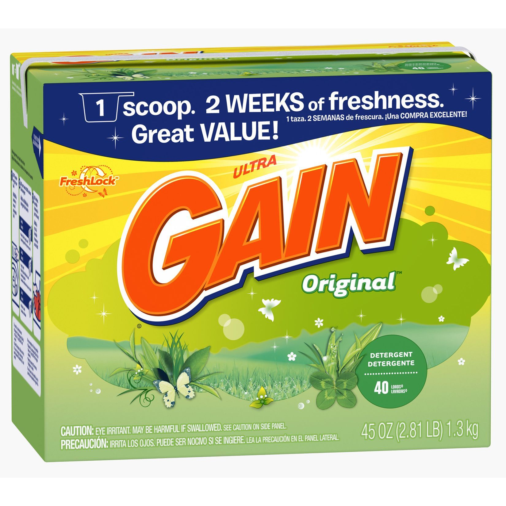 Gain 45 Oz Original Scent Gain Ultra Powder Detergent Gain Powd