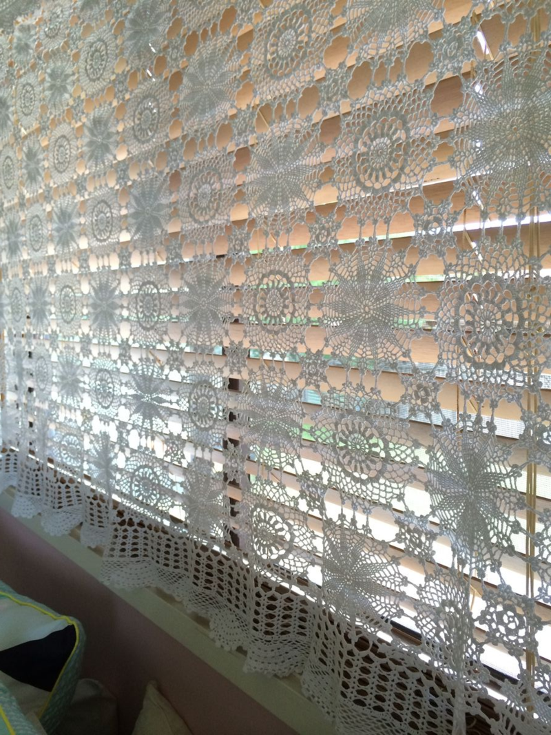Loving our 'new' lace curtains. Repurposed lace tablecloths from the Op (Thrift) shop for around $2 each
