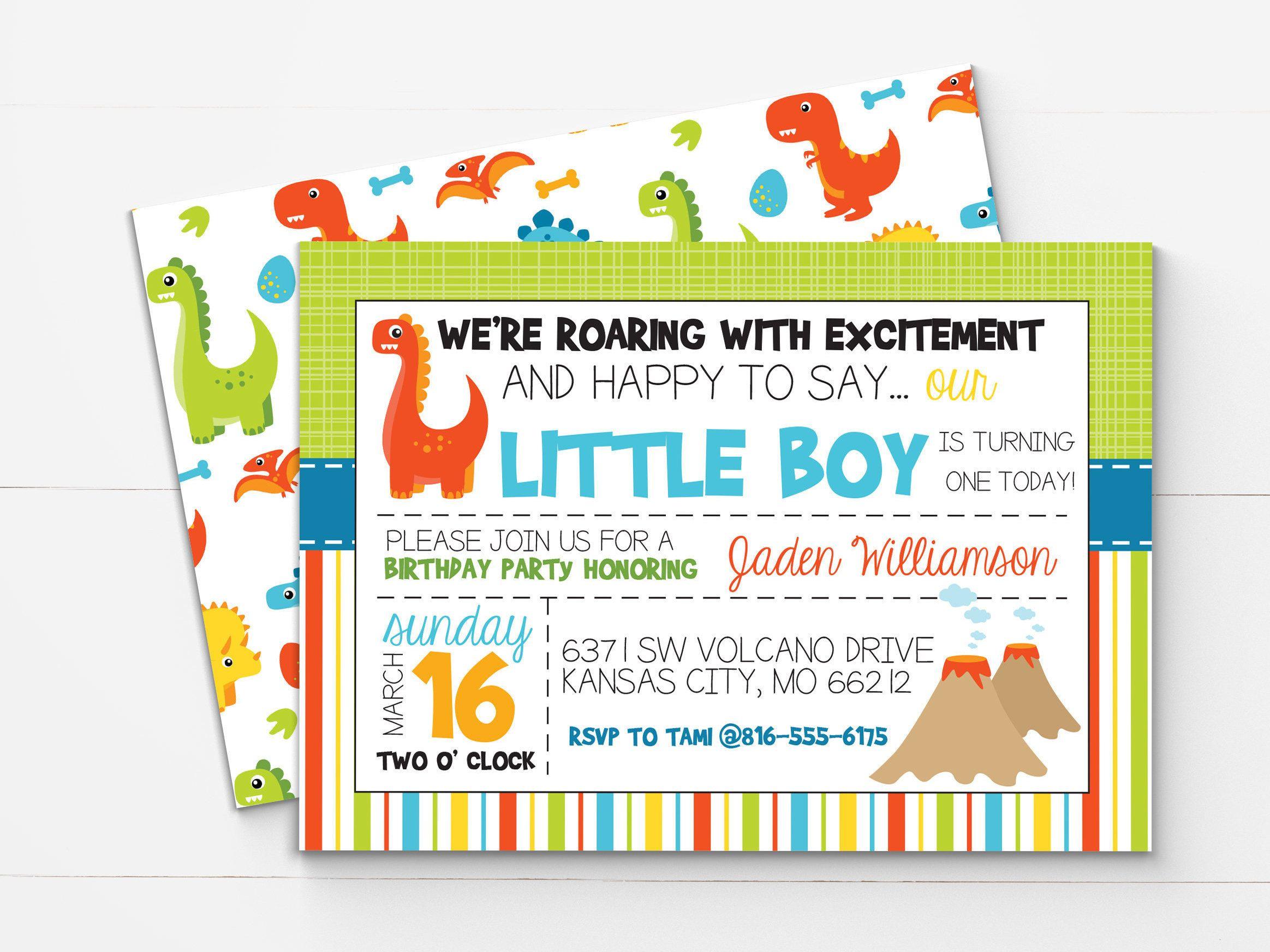 Dinosaur First Birthday Invitation - Dinosaur Invitation - Dinosaur ...