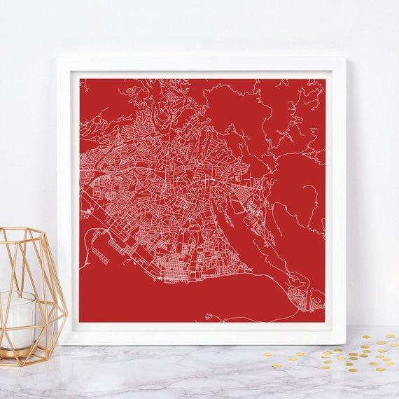 KINGSTON CITY MAP Fine Art Map Poster