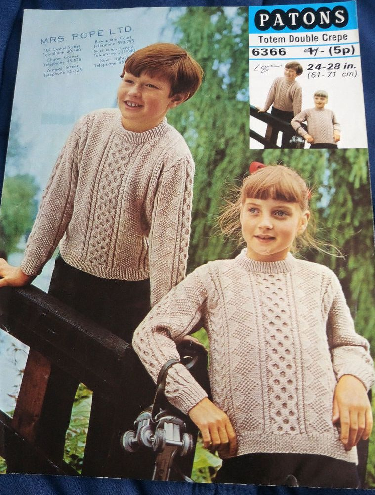 Roll-Neck Jumper Vintage Knitting Pattern 22-30 Inches Child/'s DK.