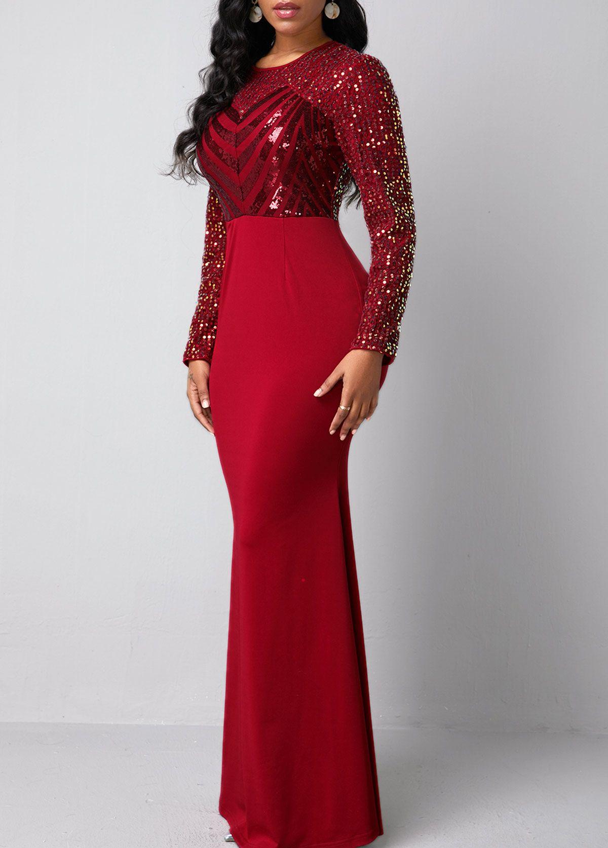 Long sleeve sequin detail red mermaid dress