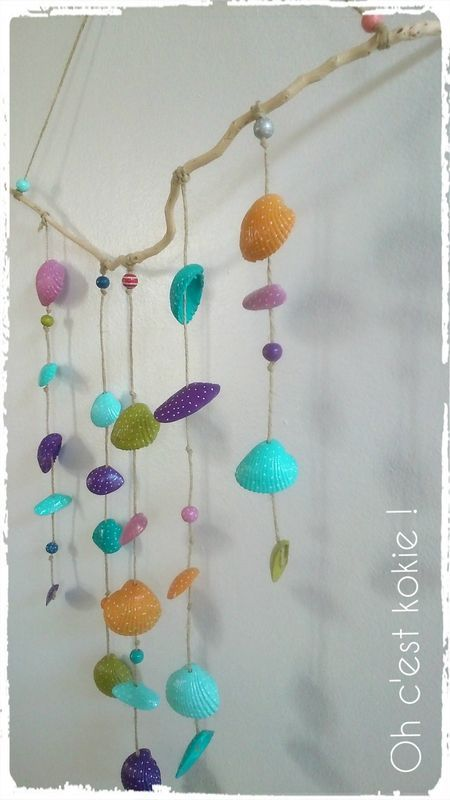 Mobile coquillages peints ab c daire pinterest - Bricolage avec coquillage ...