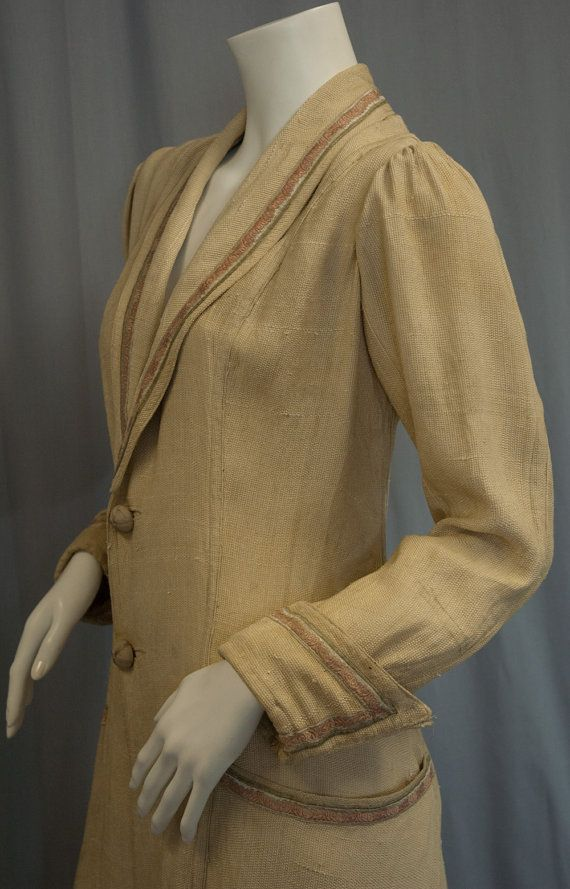 Antique Edwardian raw silk beige driving coat with FANTASTIC pockets, cuffs, and Art Nouveau ribbon trimming for $200 from Recursive Chic @ recursivechic.com