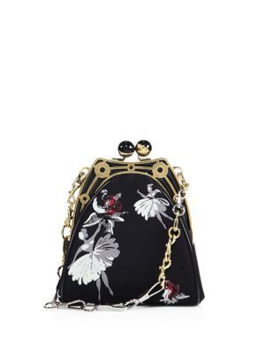 MARC JACOBS Ballerina-Embroidered Framed Chain Shoulder Bag. #marcjacobs #bags #shoulder bags #lining #polyester #suede #