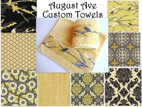 Yellow And Grey Towels Hand Towels Towel Sets Bath By Augustave 22 00 Gray Towels Custom Towel Hand Towels
