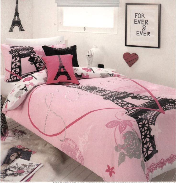 PARIS CHIC Eiffel Tower White Pink Grey SINGLE Quilt/Doona Cover Set ...
