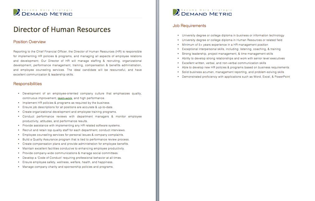 Director of Human Resources Job Description A template