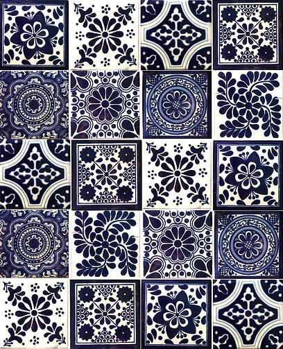 Hadeda Talavera Tiles MexicanConnexionForTilecom Design - Black and white talavera tile