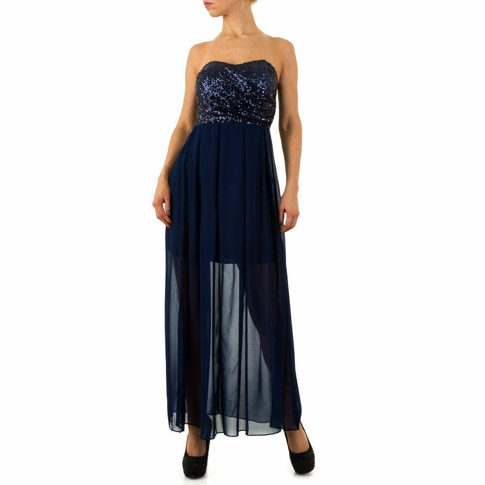 pailletten maxi damen kleid 36 dunkelblau 1078   maxi
