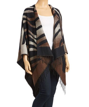 Loving this Brown/black Stripe Fringe Poncho on #zulily! #zulilyfinds
