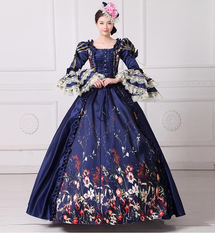 Royal Blue Palace Catwalk Dance Costume Women Vintage Victorian ...