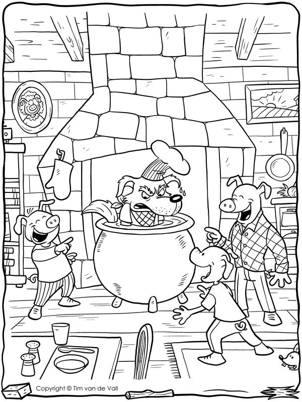 Big Bad Wolf In Cauldron Coloring Pages Cartoon Coloring Pages Three Little Pigs