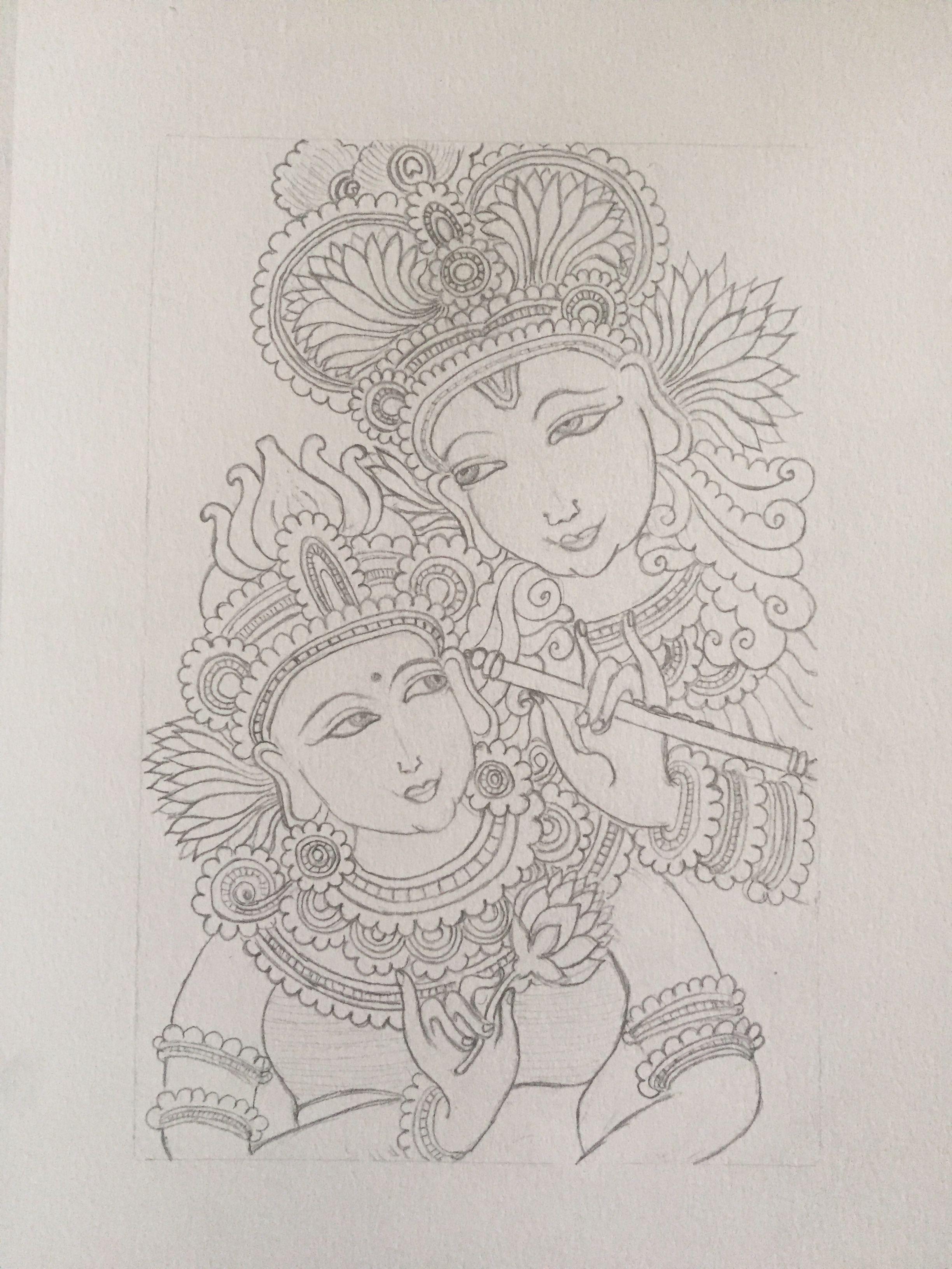 Pencil drawing of krishna radha kerala mural painting style