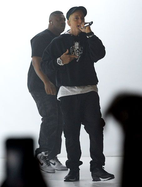 Eminem performs at the 2013 YouTube Music Awards.