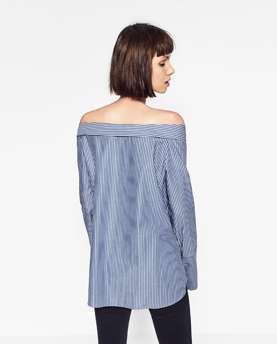 Image 4 of OFF-THE-SHOULDER POPLIN TOP from Zara Camisas c54071694df91