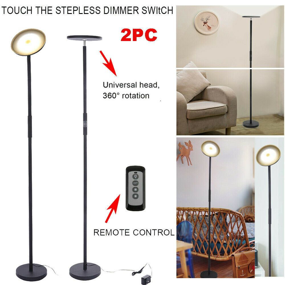 Dimmable Led Floor Lamp Tall Standing Modern Pole Light Bedroom W