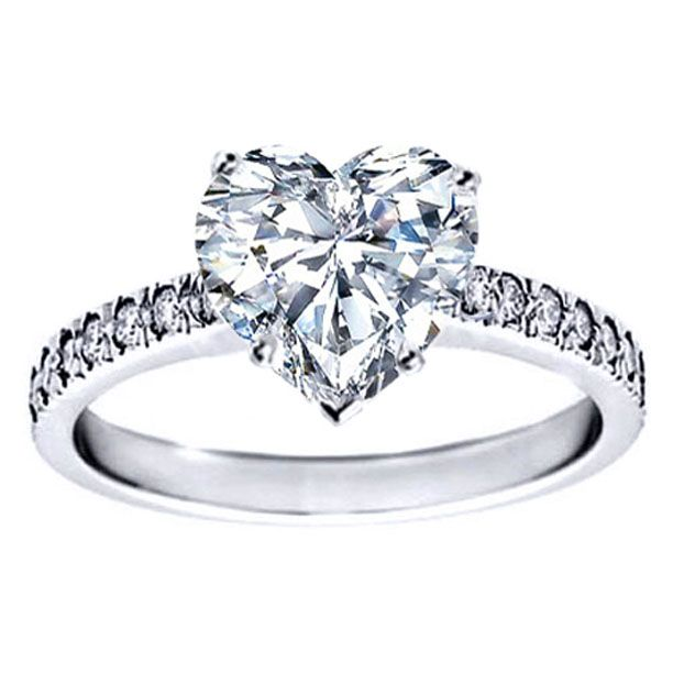 Heart Diamond Novo Engagement Ring Pave band 0.28 tcw.