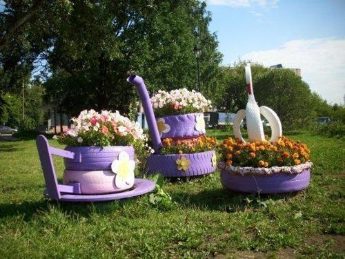 Como Hacer Macetas Para El Jardín Con Llantas Recicladas Para - maceteros para jardin