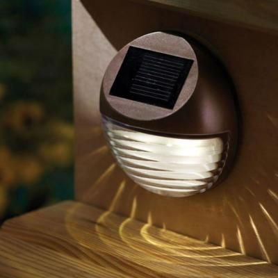 Moonrays Outdoor Bronze Solar Powered Round Mini Led Deck Light 95027 The Home Depot Solar Deck Lights Led Deck Lighting Deck Lighting