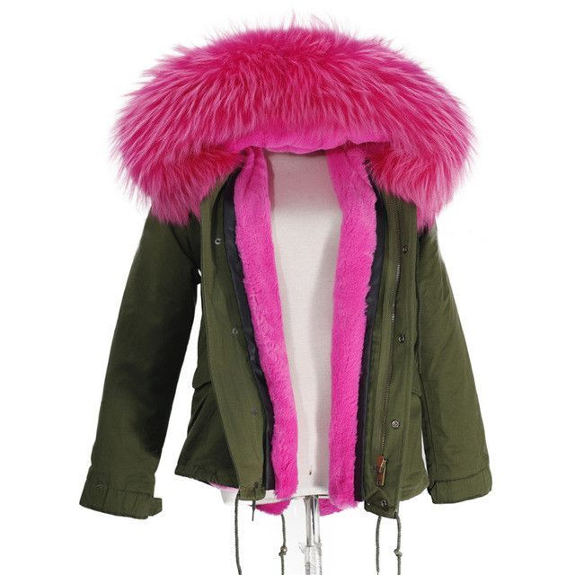 Womens puffer coat with real fur hood