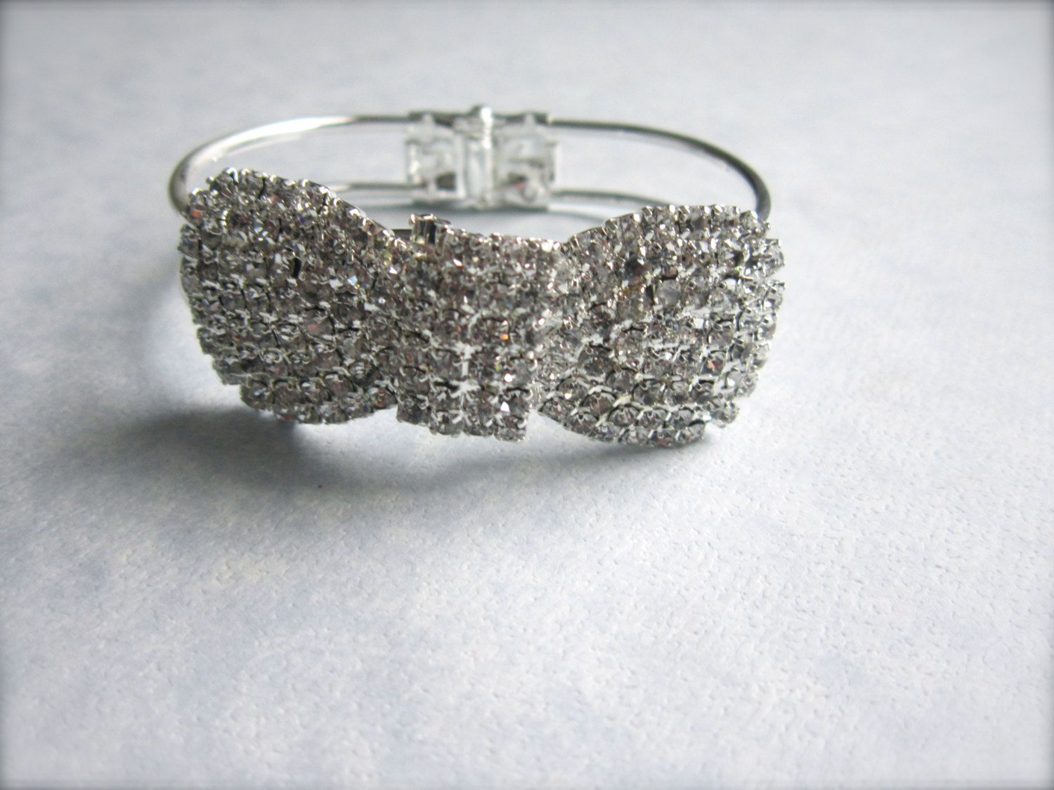 Silver rhienstone bow bracelet via etsy womens girls